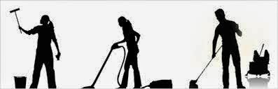 3 black silhouette figures of people doing house cleaning