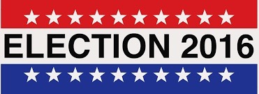 Red white and blue Election 2016 sign with white stars