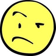 Skeptical yellow smiley face