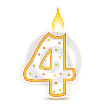Illustration of a yellow and white number 4 with a lit candle on the top