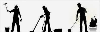 3 silouette figures of people doing house cleaning work