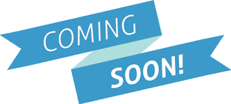 """Blue folded ribbons reading """"COMING SOON!"""" in white letters"""