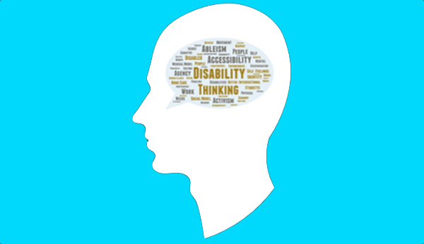 Icon of a white silhouette head with a word cloud inside containing words associated with disability thinking, against a light blue background