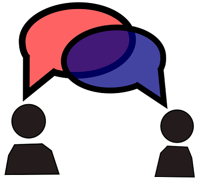 Two stick figures with overlapping speech balloons over their heads