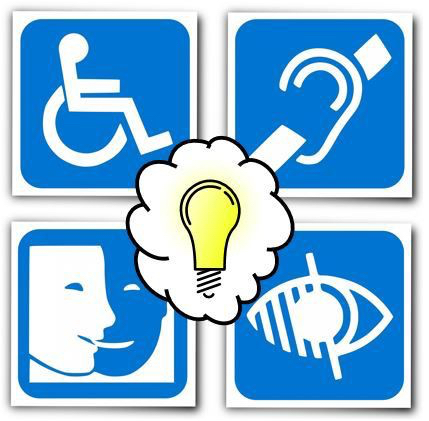 Grid of four different disability symbols with a light bulb image over them