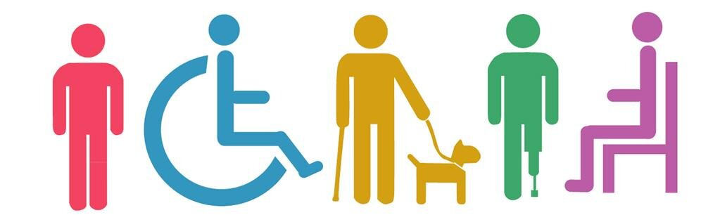 Five different-colored stick figures representing five types of disabilities