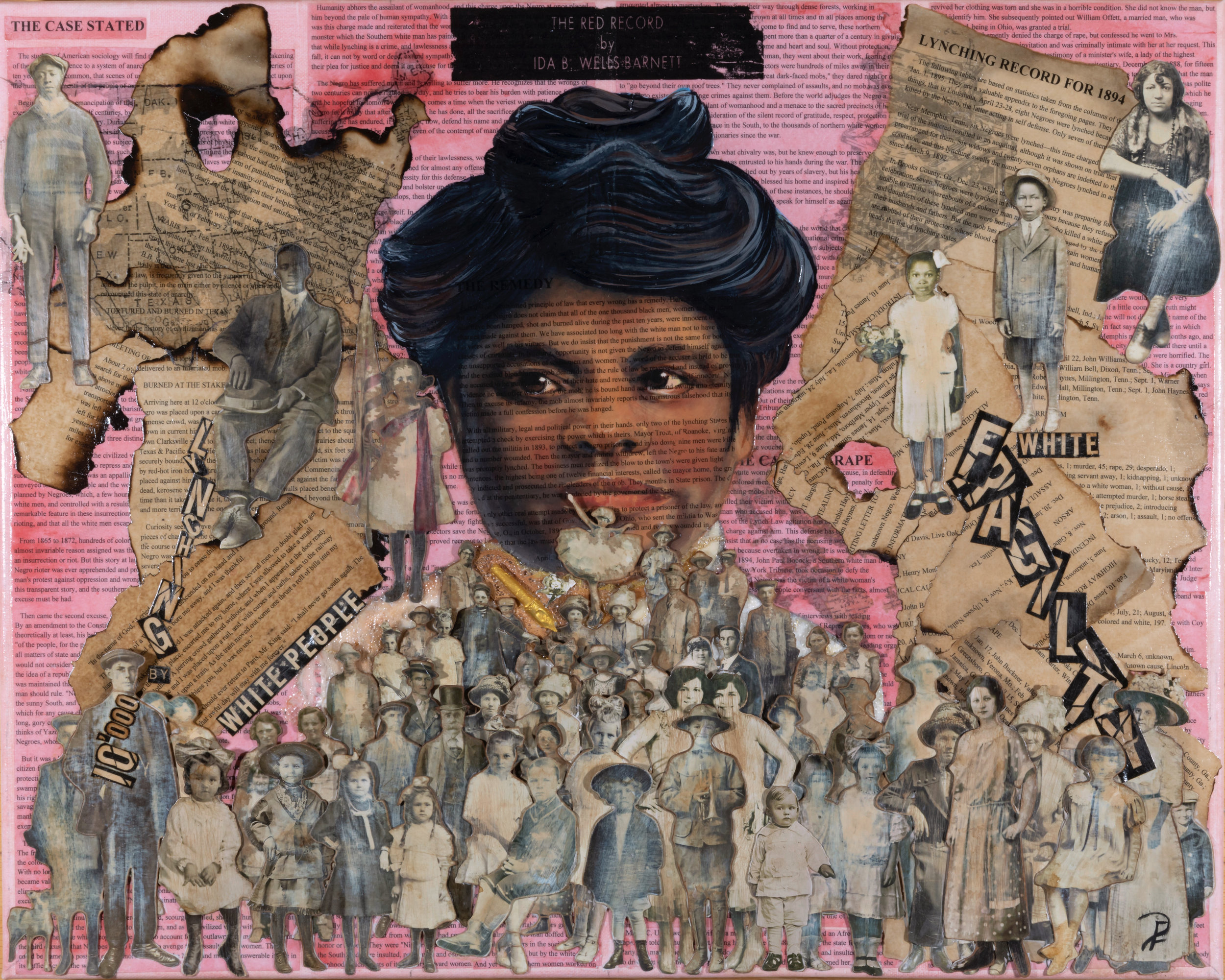 Ida b. wells collage - One of seven Story collages that Patsy Ferrell will be creating for the upcoming Women Are Human Traveling Exhibit