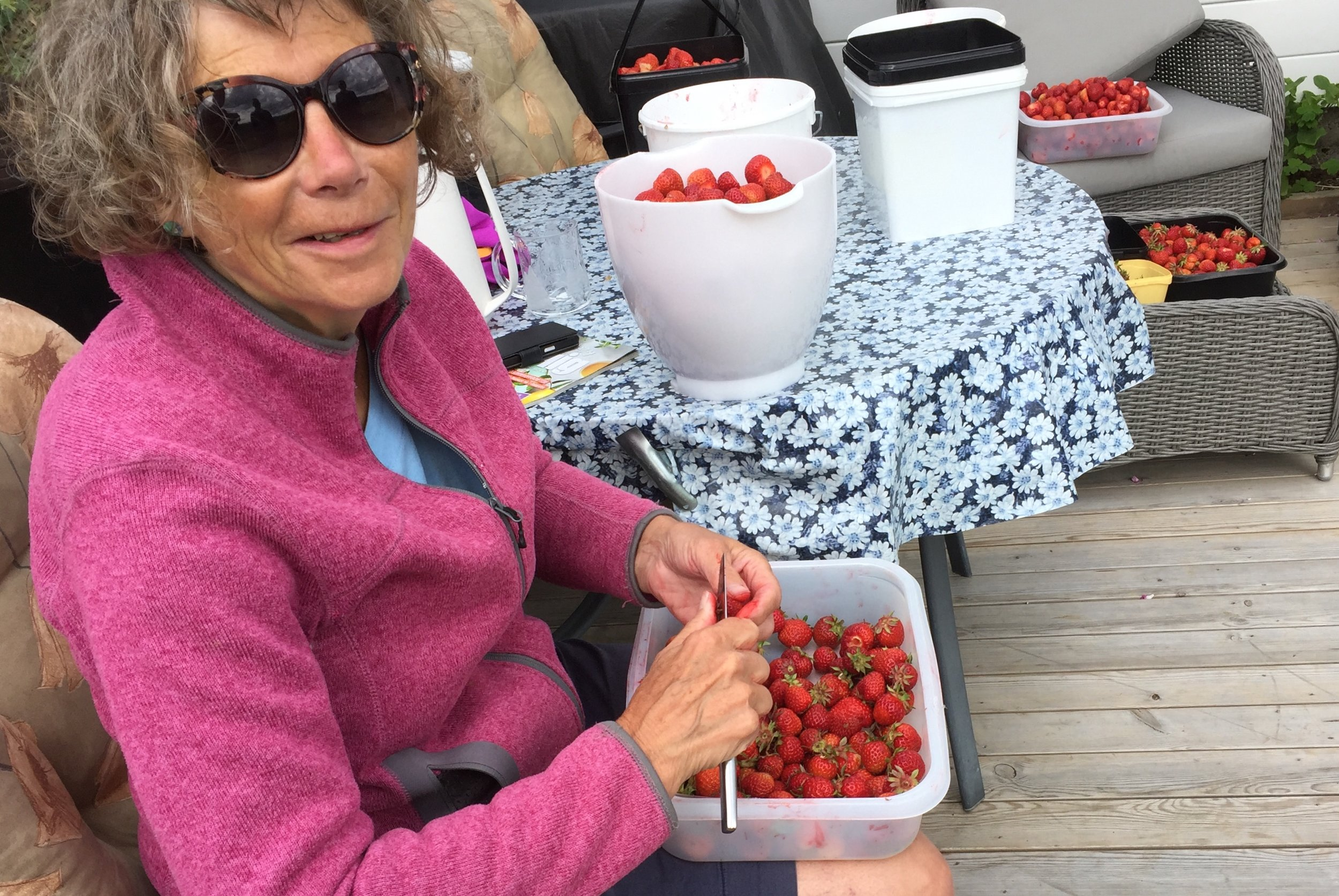 Eline Kaldbast Berge renser jordbær før det skal røres og fryses.