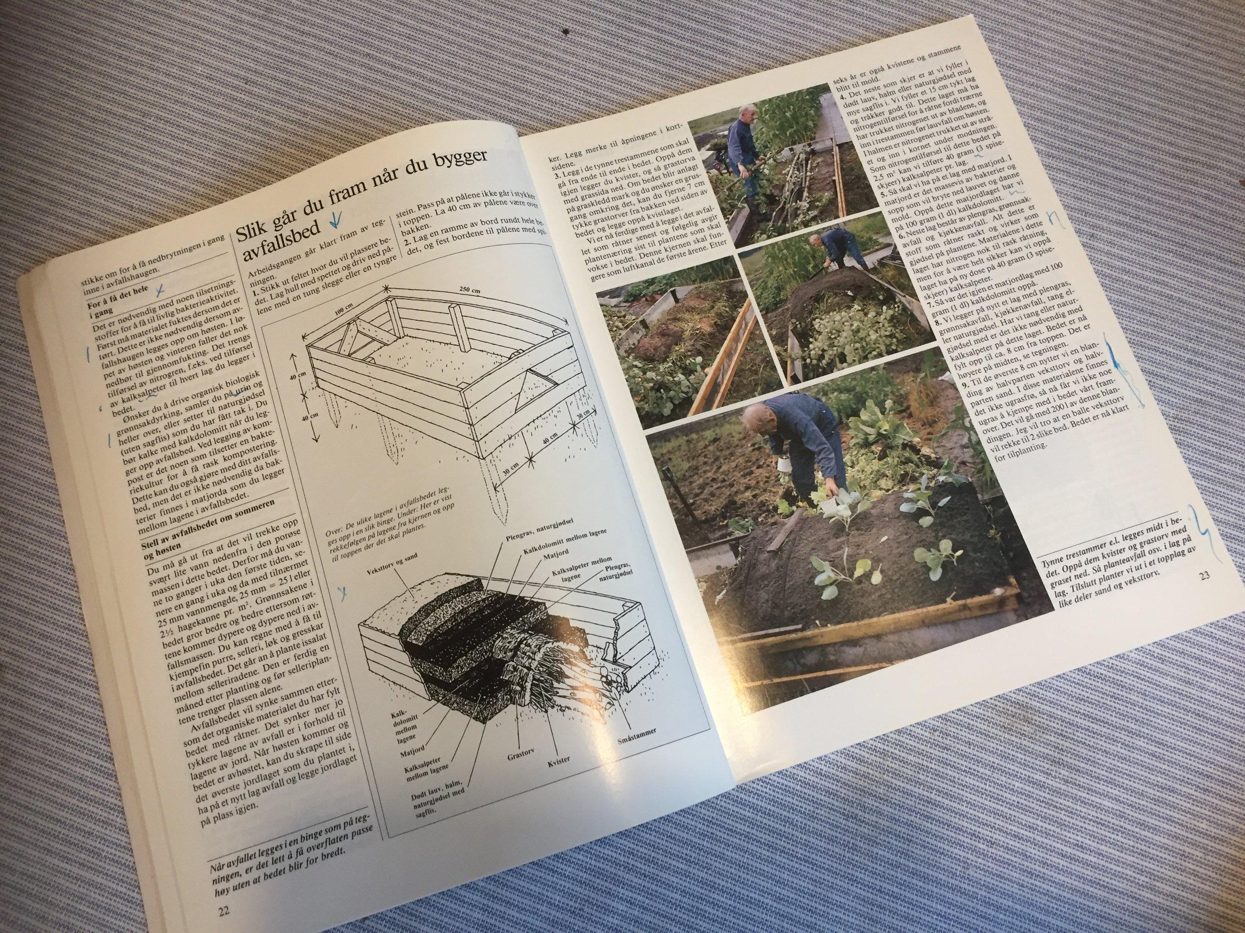 Avfallsbed kalte det norske hageselskap metoden da de tok den med i sin bok Lær å dyrke grønnsaker i 1987