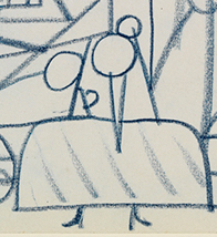 "Crop of the Infanta Margarita Teresa from  Sketch for ""Las Meninas"",  Pablo Picasso. 1957, blue pencil on paper (page from a sketchbook). Museu Picasso, Barcelona. Picture taken from Museu Picasso's blog post,  The chronology of  Las Meninas  of Picasso ."