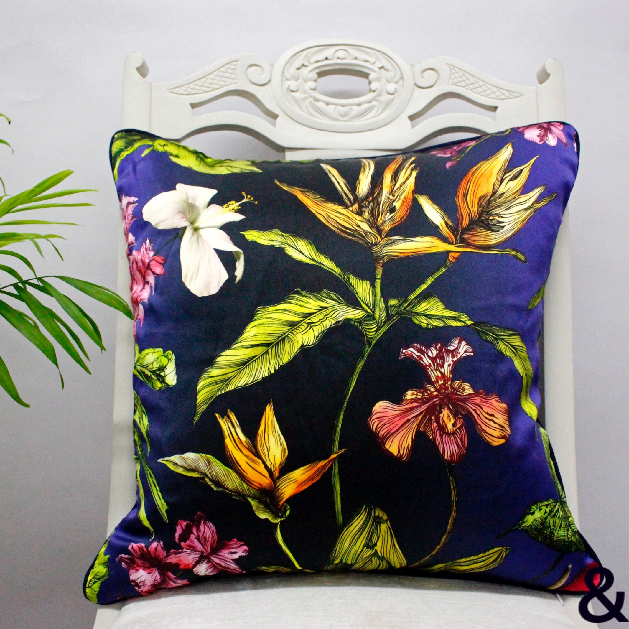 Silk Tropical Midnight Botanical Luxury Cushion