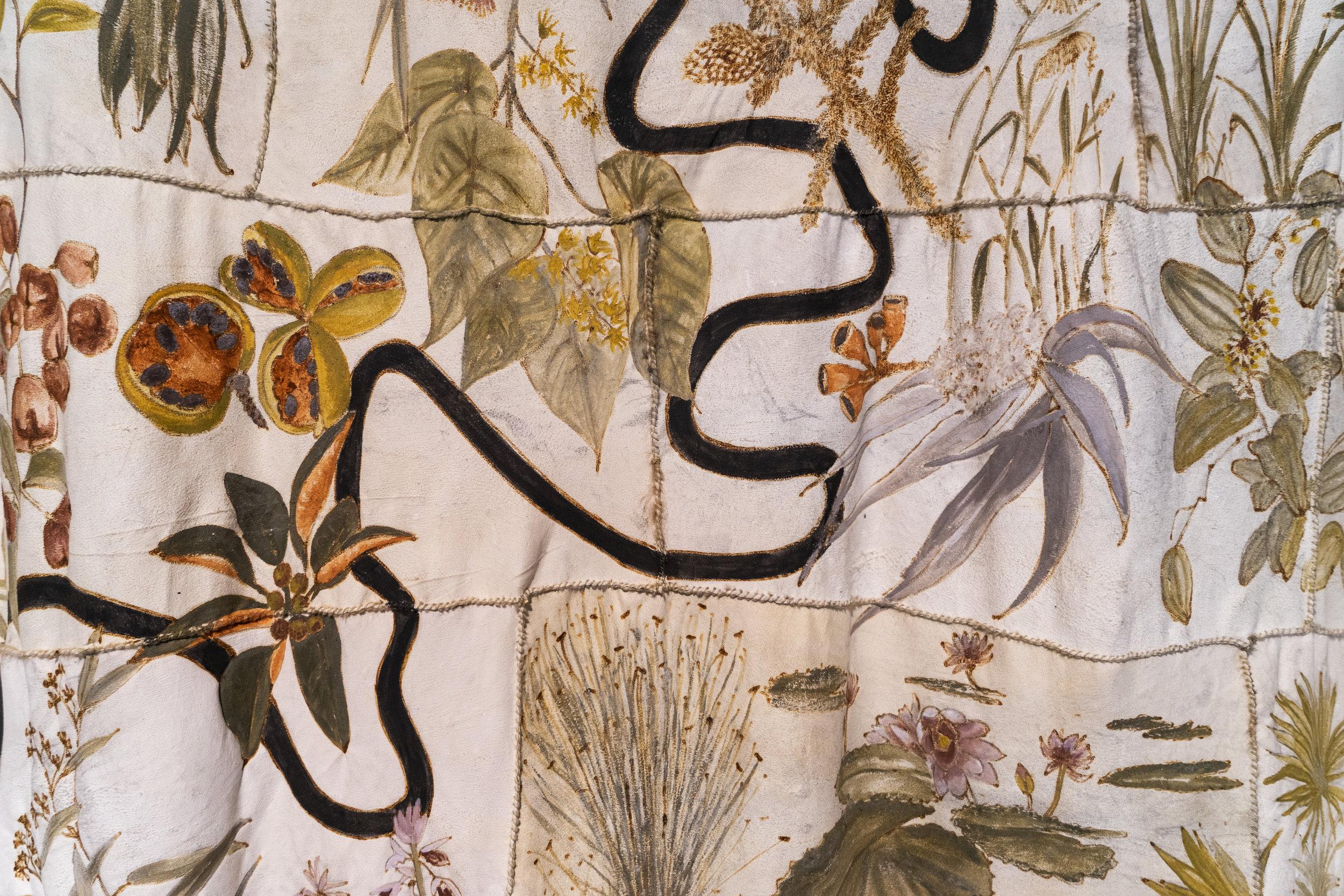 Carol McGreggor, Skin Country (detail), 2018, possum skins, charcoal, ochre, binder medium, waxed thread. Photo: Louis Lim