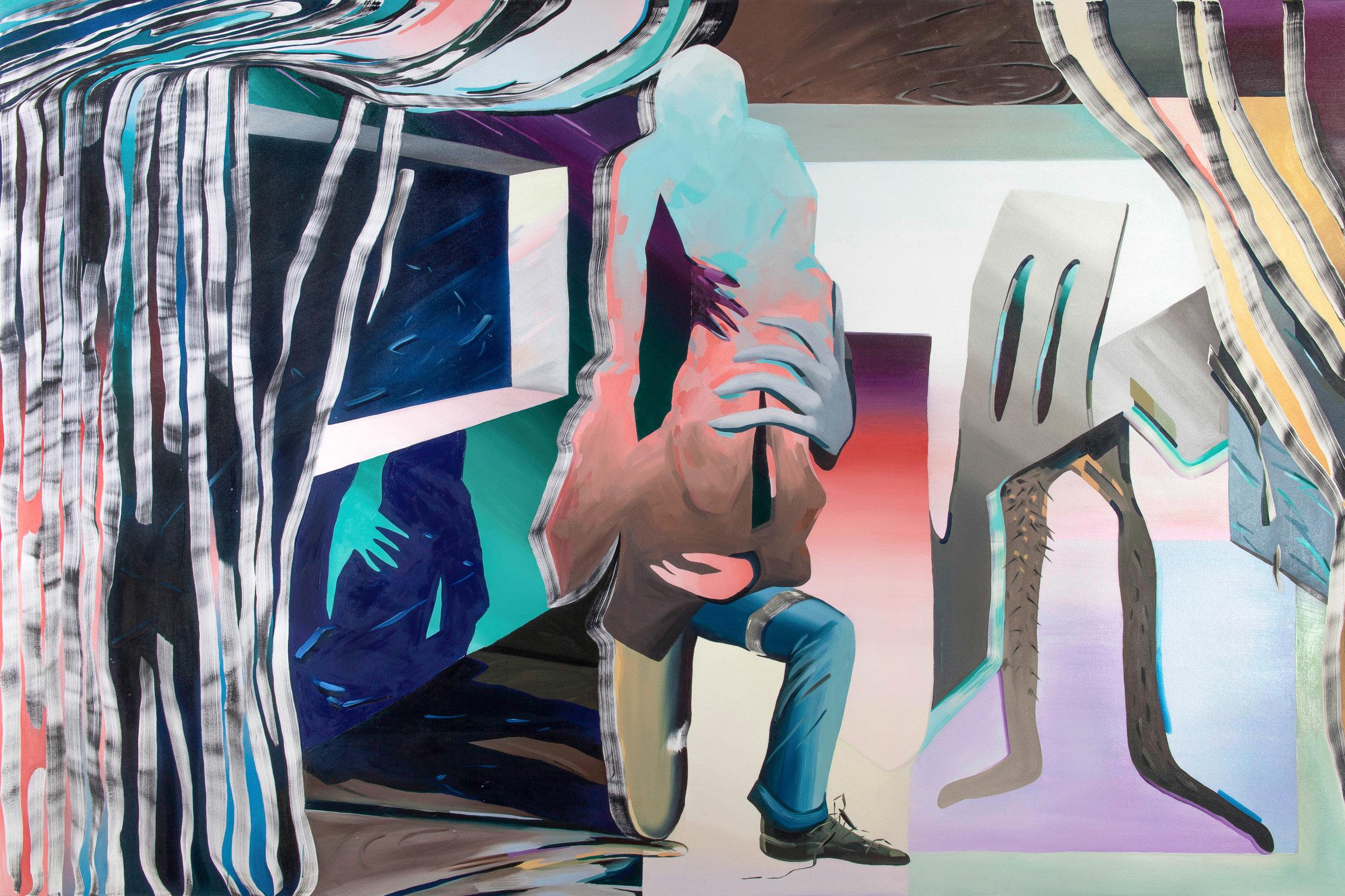 Karen Seapker , Congregate  (2016), oil on canvas, 72x108 inches.