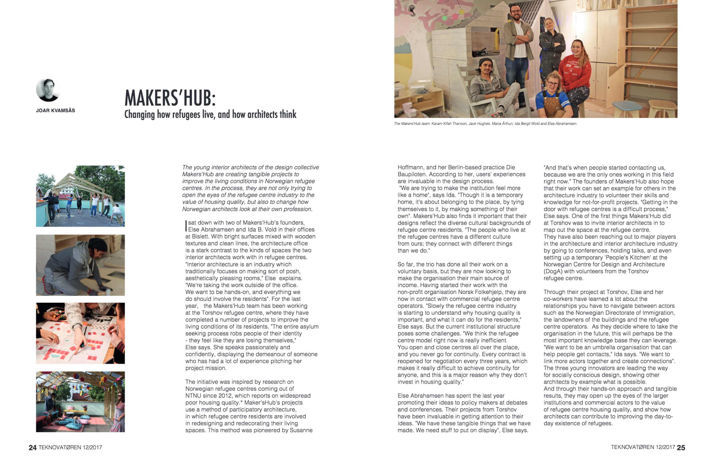 """ARTICLE ABOUT MAKERSHUB WORK, January 2017:  """"Changing how refugees live, and how architects think"""", Teknovatøren"""
