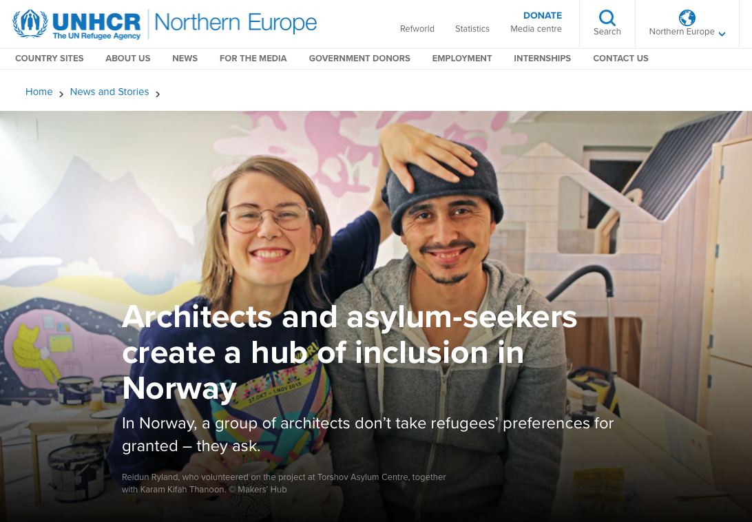"""ARTICLE ABOUT KARAM'S WORK WITH MAKERS'HUB:  """"Architects and asylum seekers create a hub of inclusion in Norway"""", UNHCR, 2017"""