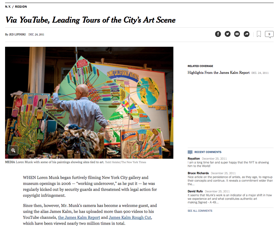 Via YouTube, Leading Tours of the City's Art Scene - By Jed Lipinski, The New York Times