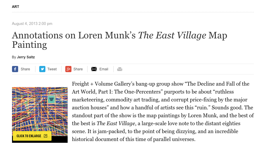Annotations on Loren Munk's The East Village Map Painting - By Jerry Saltz, New York Magazine