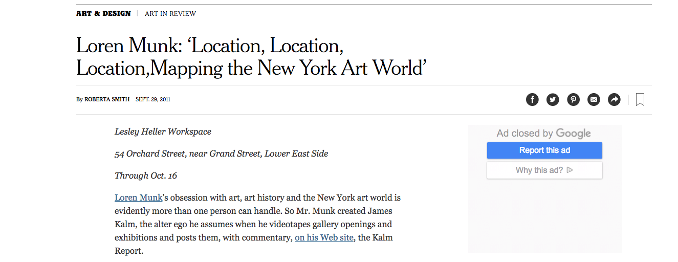 Loren Munk: 'Location, Location, Location, Mapping the New York Art World' - By Roberta Smith, The New York Times