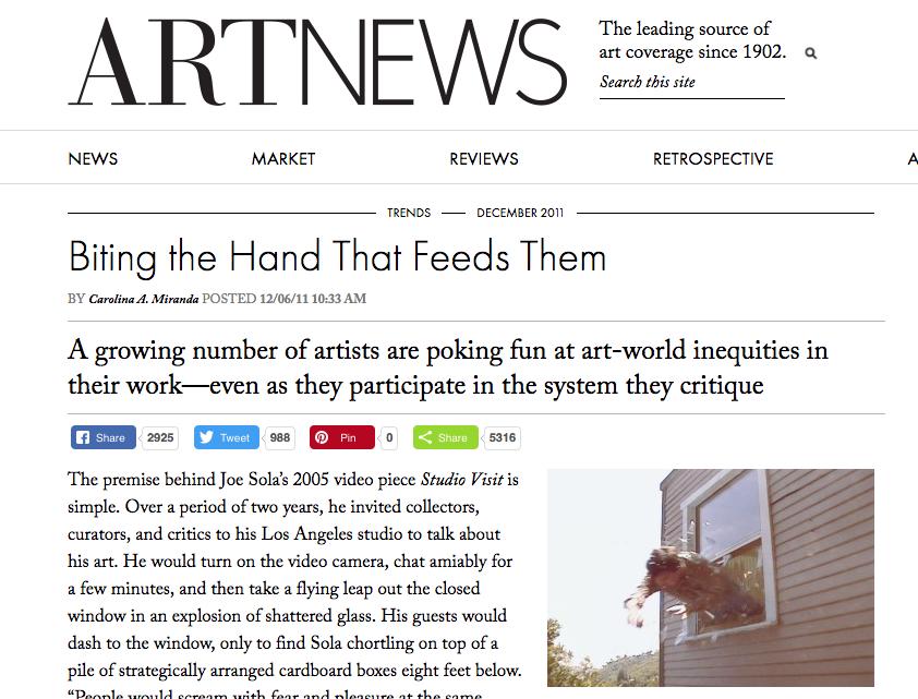Biting the Hand That Feeds Them - By Carolina A. Miranda, Art News