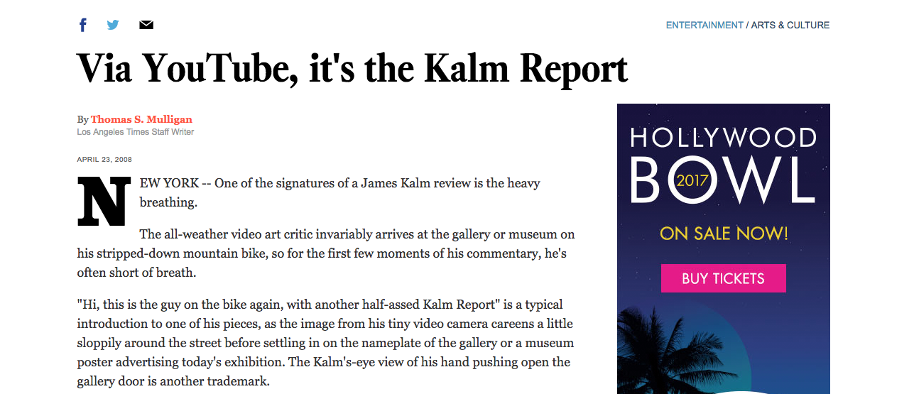 Via YouTube, it's the Kalm Report - By Thomas S. Mulligan, Los Angeles Times