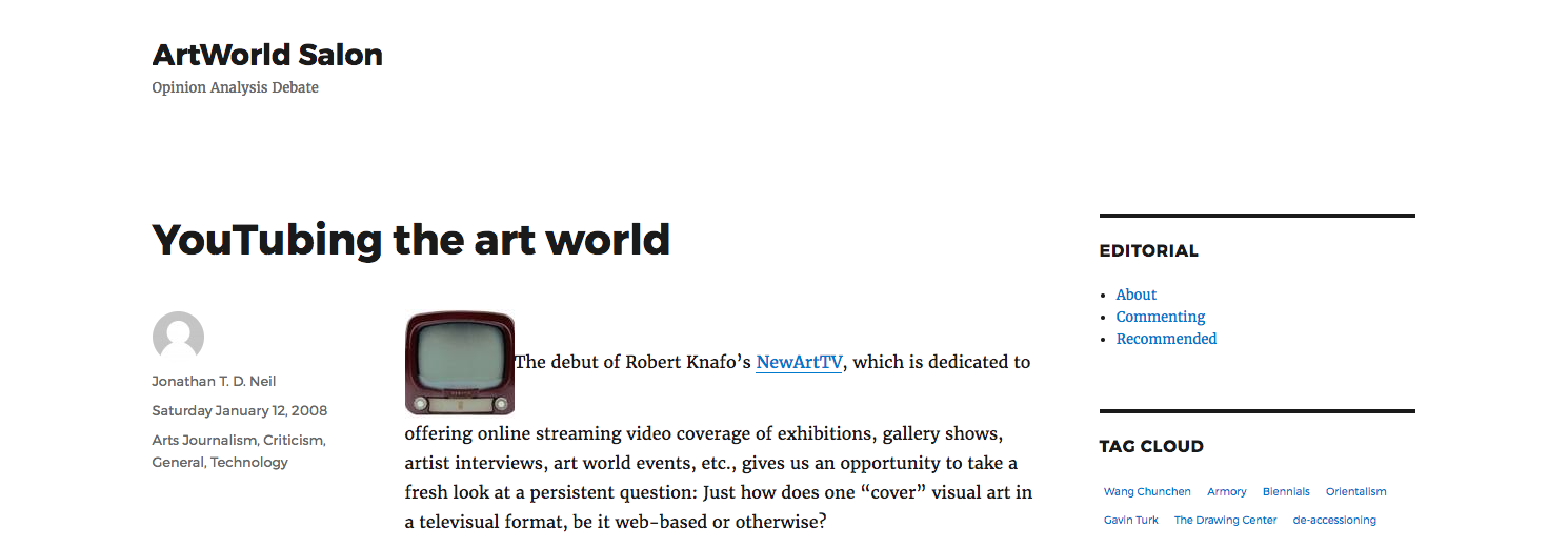 YouTubing the art world - By Jonathan T. D. Neil, Artworld Salon