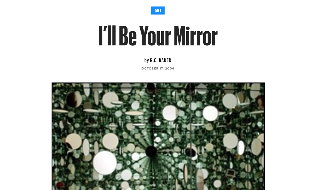 I'll Be Your Mirror - By R.C. Baker, The Village Voice