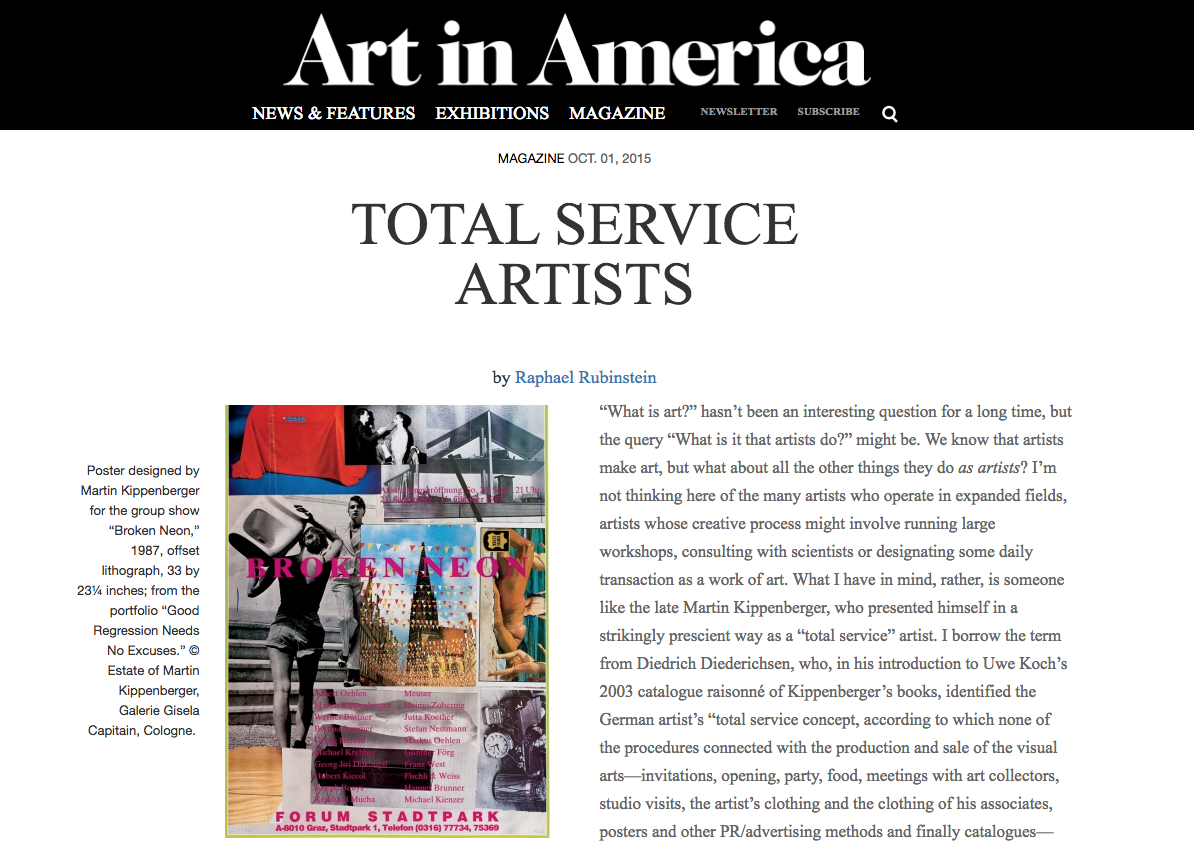 Total Service Artists - by Raphael Rubinstein, Art in America