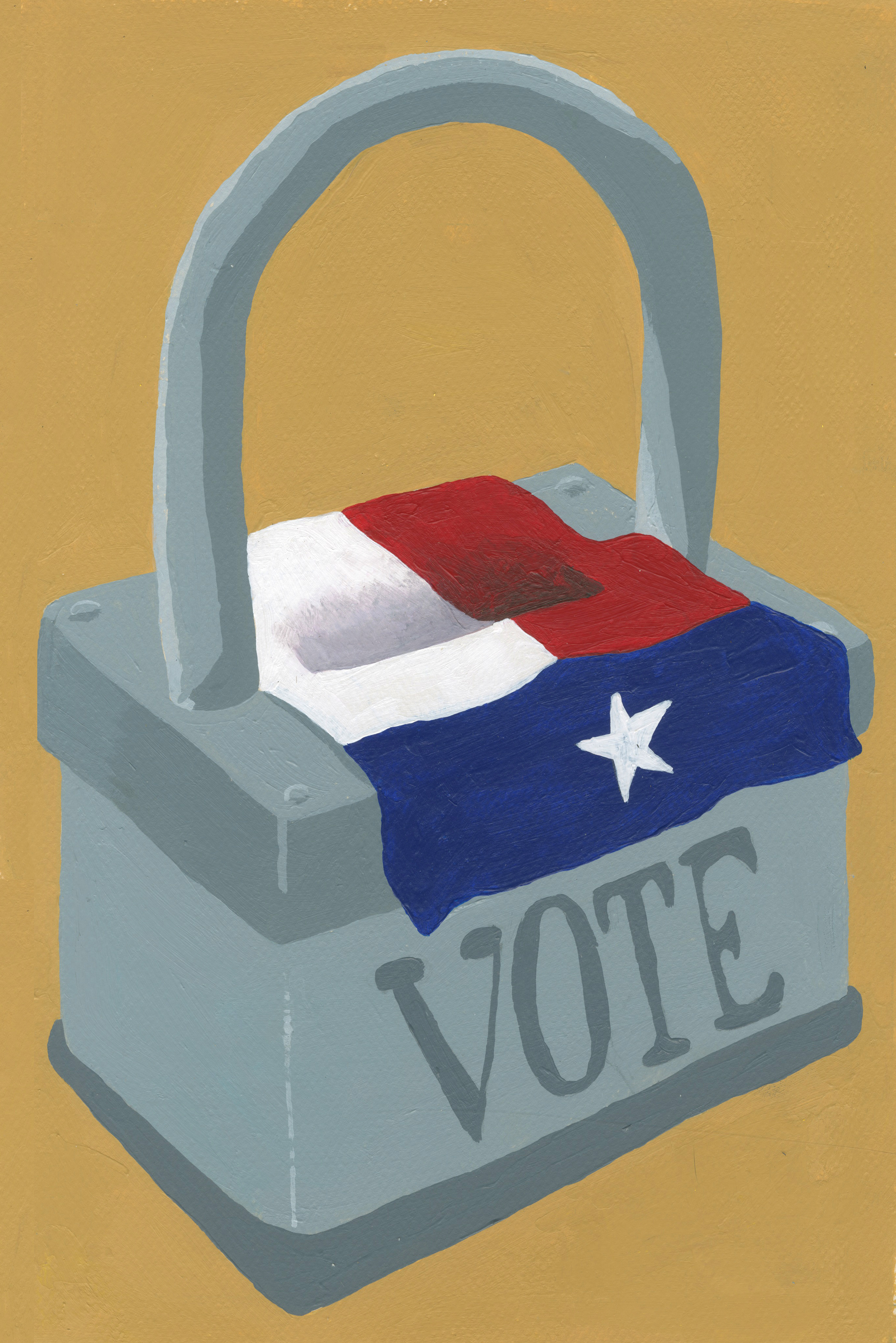 Restricts on Voting Laws in Texas  acrylic on illustration board