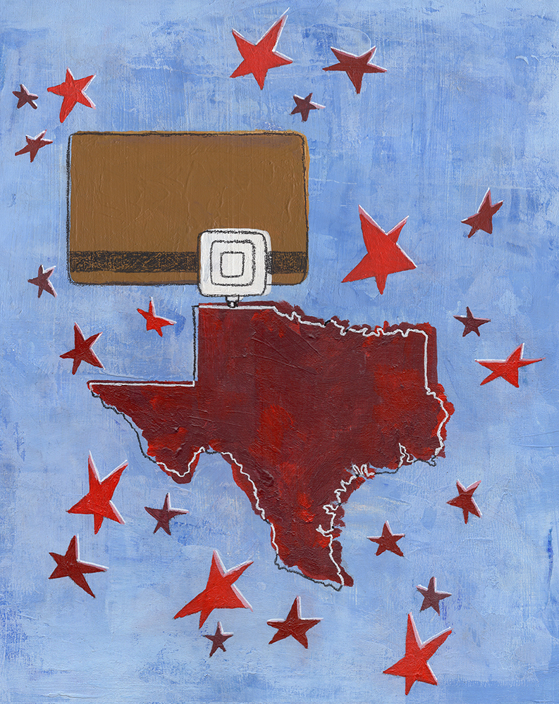 Debt in The Lone Star State  acrylic, graphite and ink on wood board