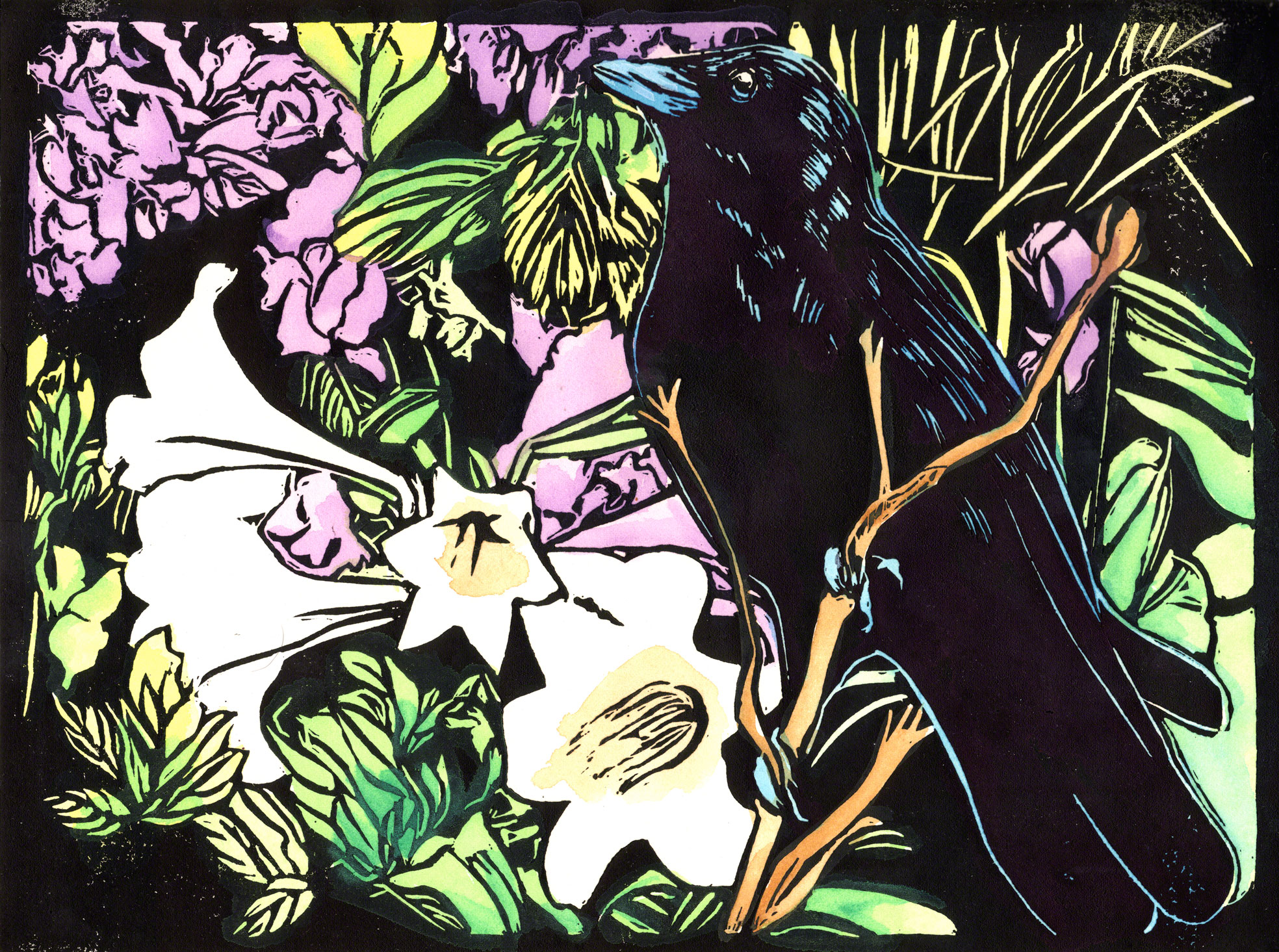 Crow with Lilies