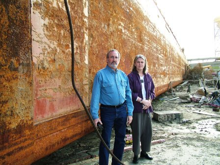 In New Orleans' Lower Ninth Ward after Hurricane Katrina with CERF+ Director Cornelia Carey