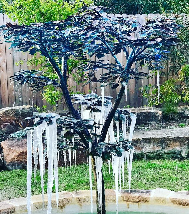 A happy#Malibufountains customer shared a photo of her custom made copper oak tree during a recent cold snap! The freezing conditions created this magical vision! The copper leaves after one year in the garden are acquiring a beautiful turquoise verdigris #fountains #hgtv #landscapedesign #malibu #copper #waterfeatures #garden #uniquecreations #architecture #gardendecor #yardart
