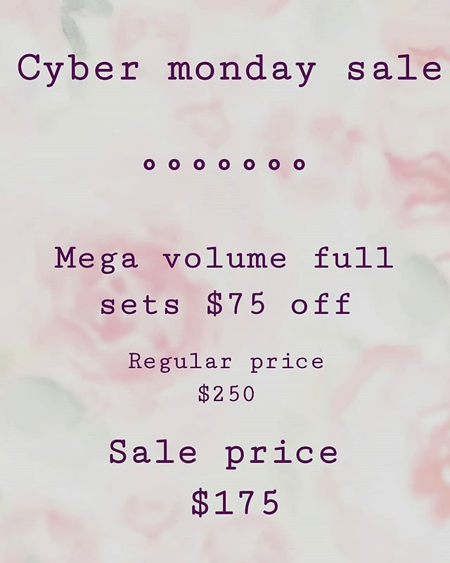 CYBER MONDAY LASH SALE. I am now certified with @lashboxla by @lashaddictyyc @eye.fancy to offer MEGA VOLUME LASHES. Starting today ALL mega volume full sets booked in the month of December are $75 OFF. Book now to take advantage of this amazing deal! We all know you want fluffy full lashes for the holidays!! 😍😍 . . . . . #yegmegavolume #yegvolumelashes #volumelashes #lashextensions #yeglashextensions #yeglashes #bethanyearlmakeup #holidaylashes #megalashes #0.03 #fluffylashes #kimklashes #yeg