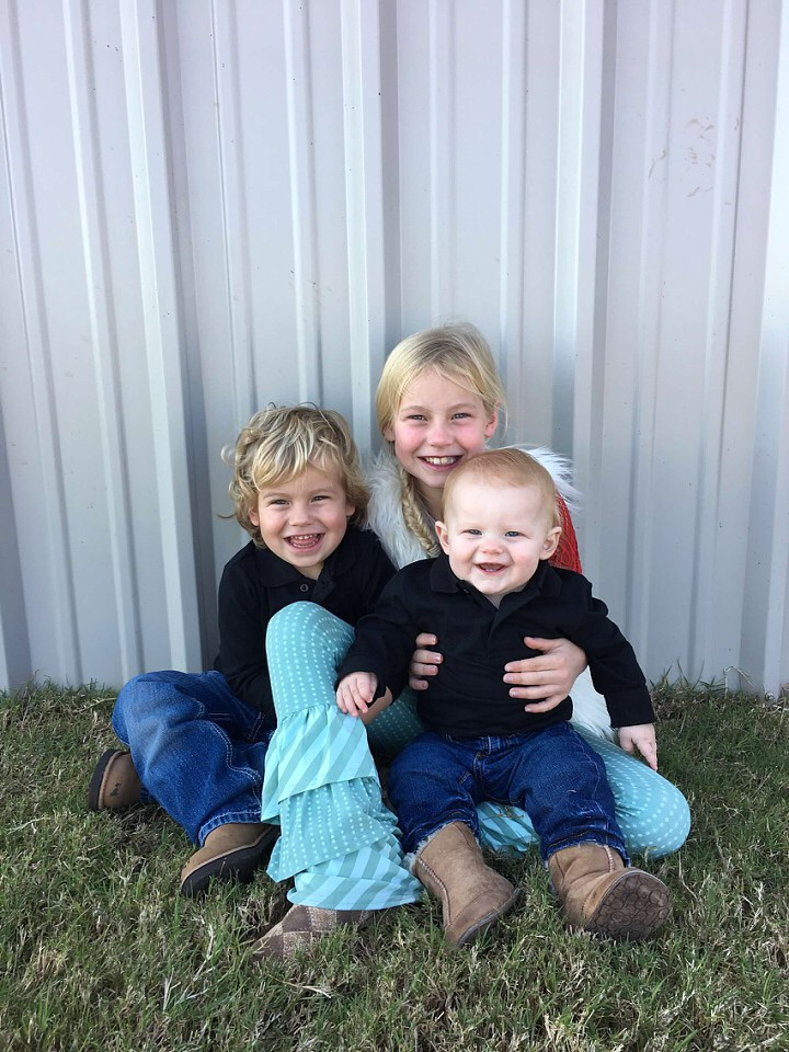 The Taylor kids. Calli is 7; Maverick is almost 3; and Knox is 1.