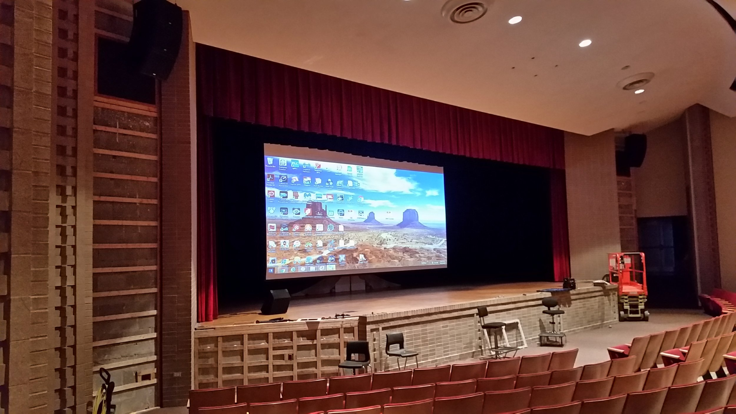 School auditorium sound and video system