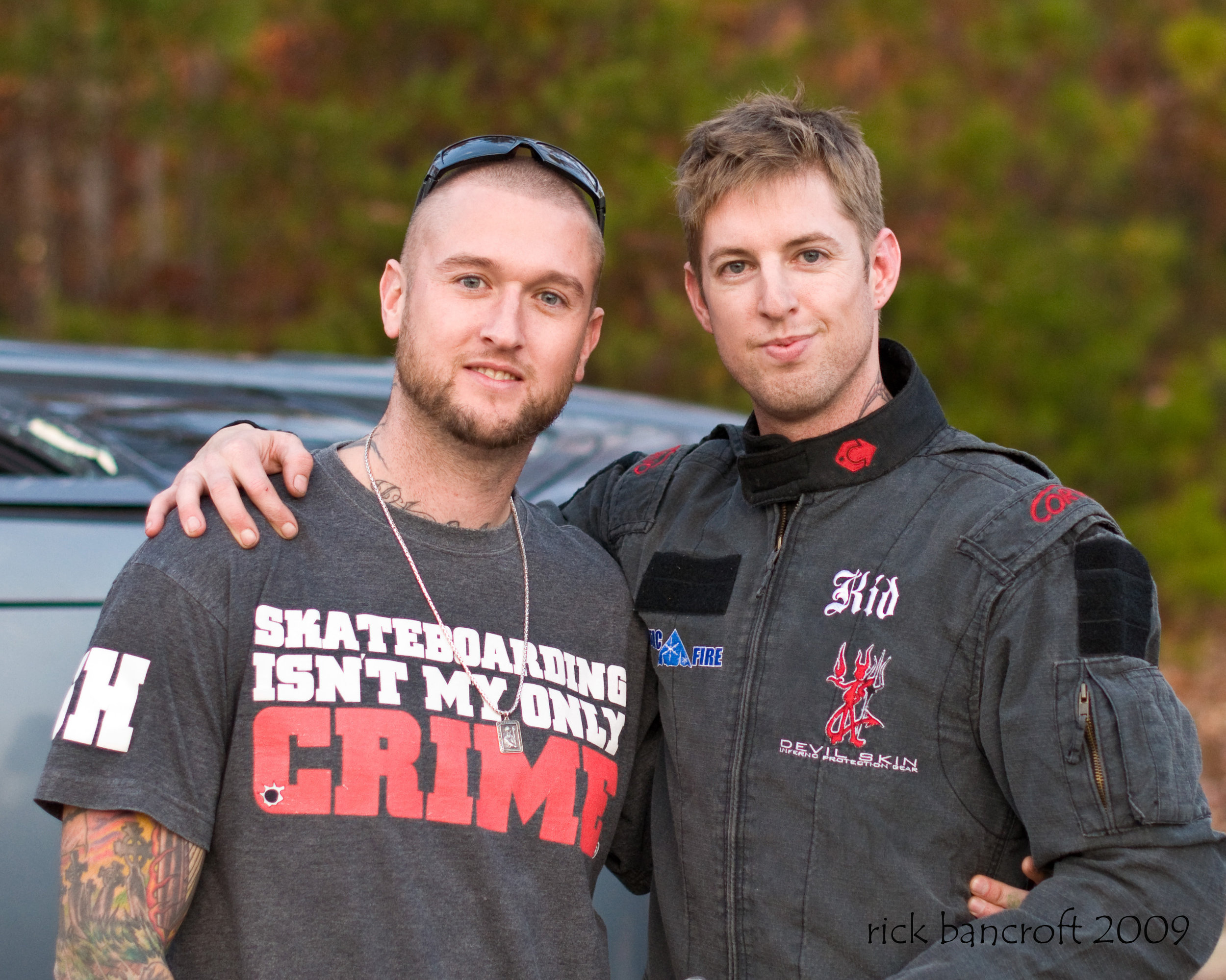 My brother Willie and I on set before a car roll over stunt. He keeps me safe. No one will ever have my back more than this guy.       photo credit - Rick Bancroft