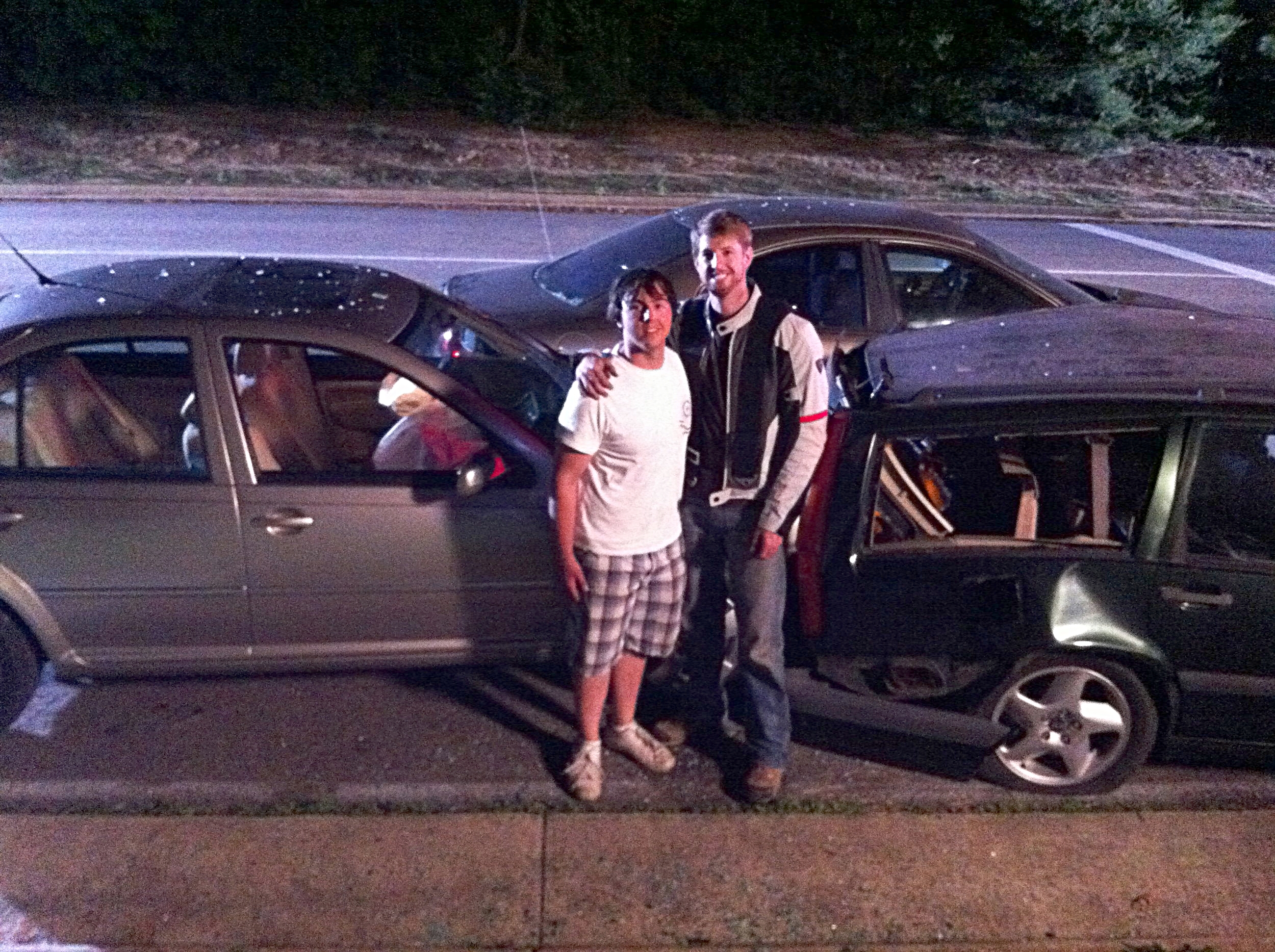 Here's a super grainy photo of Morgan and I on set after I smashed a bunch of cars up. Yeah, the iPhone couldn't capture twilight shots in 2011 either.