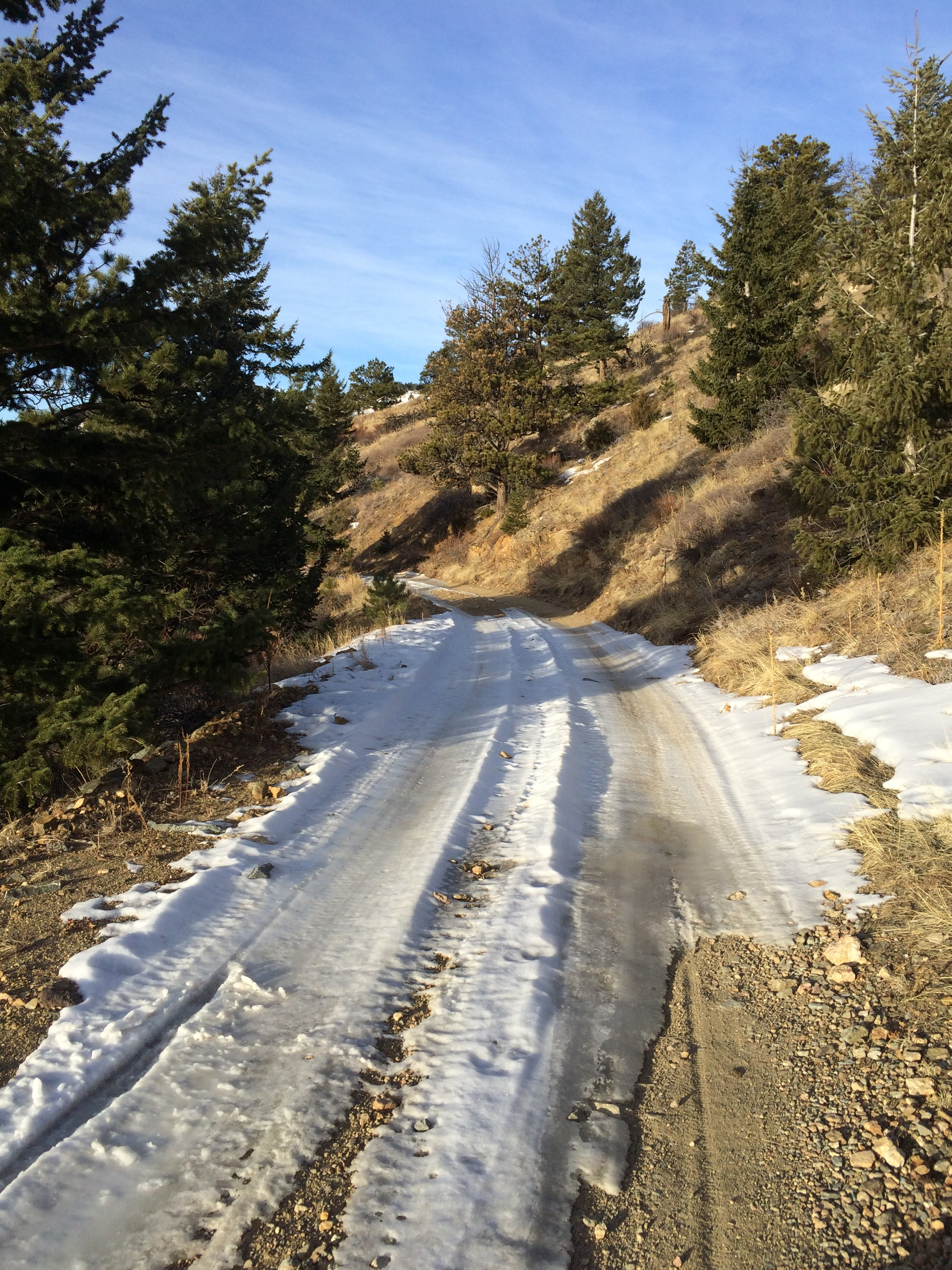 Road conditions were a mix of hard pack snow, ice and dry dirt roads.