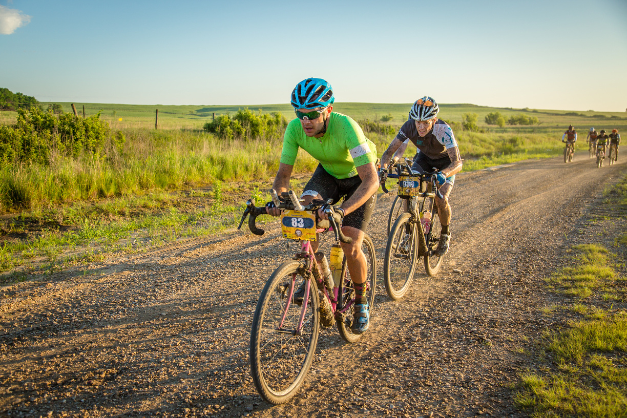 Me with Mike on my wheel near the start of the 2016 Dirty Kanza. Soon he rocketed past and set a new PR! (Photo by Linda Guerrette)