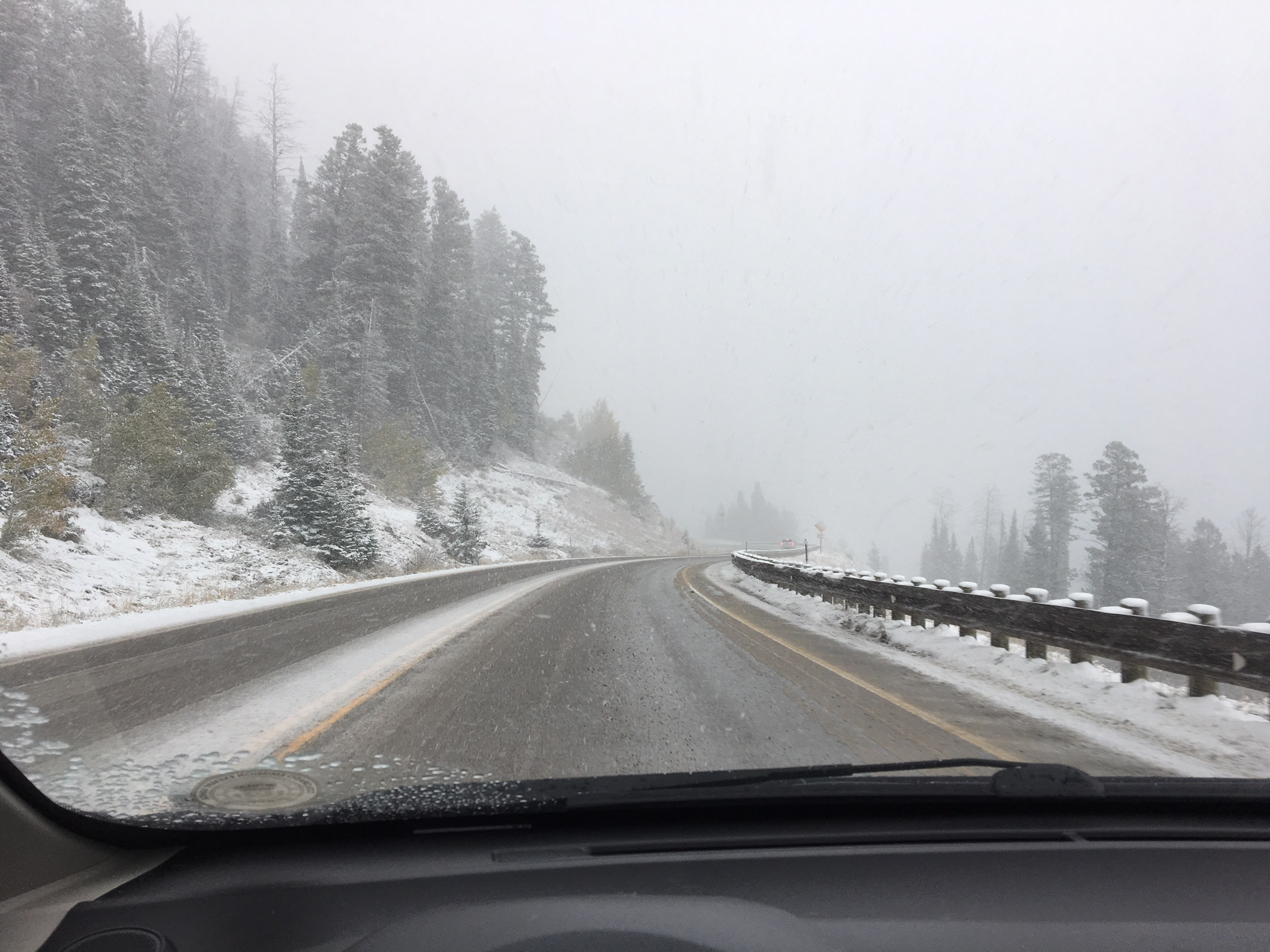 The drive over Teton Pass was a wintry experience.