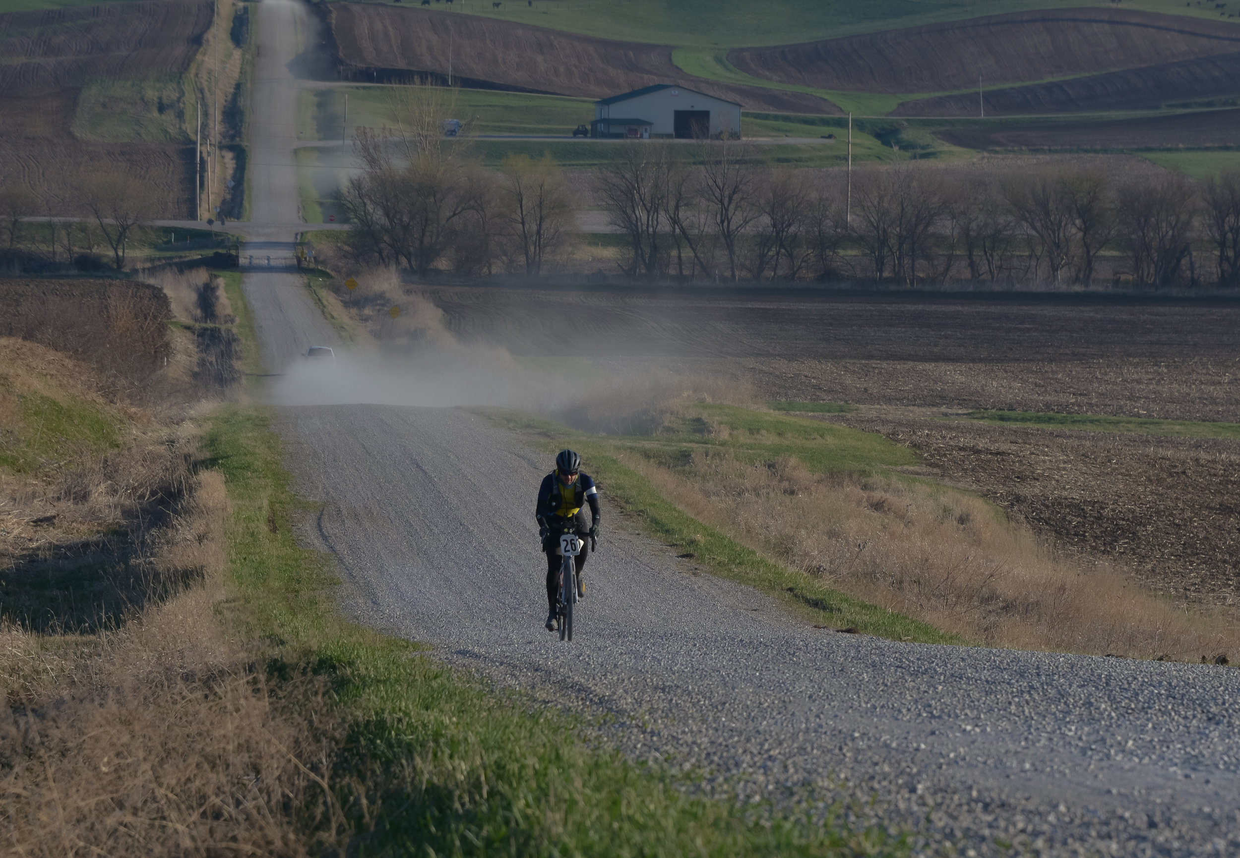 Slow, freshly laid gravel and dust made the going tough for everyone. Photo by Jon Duke.