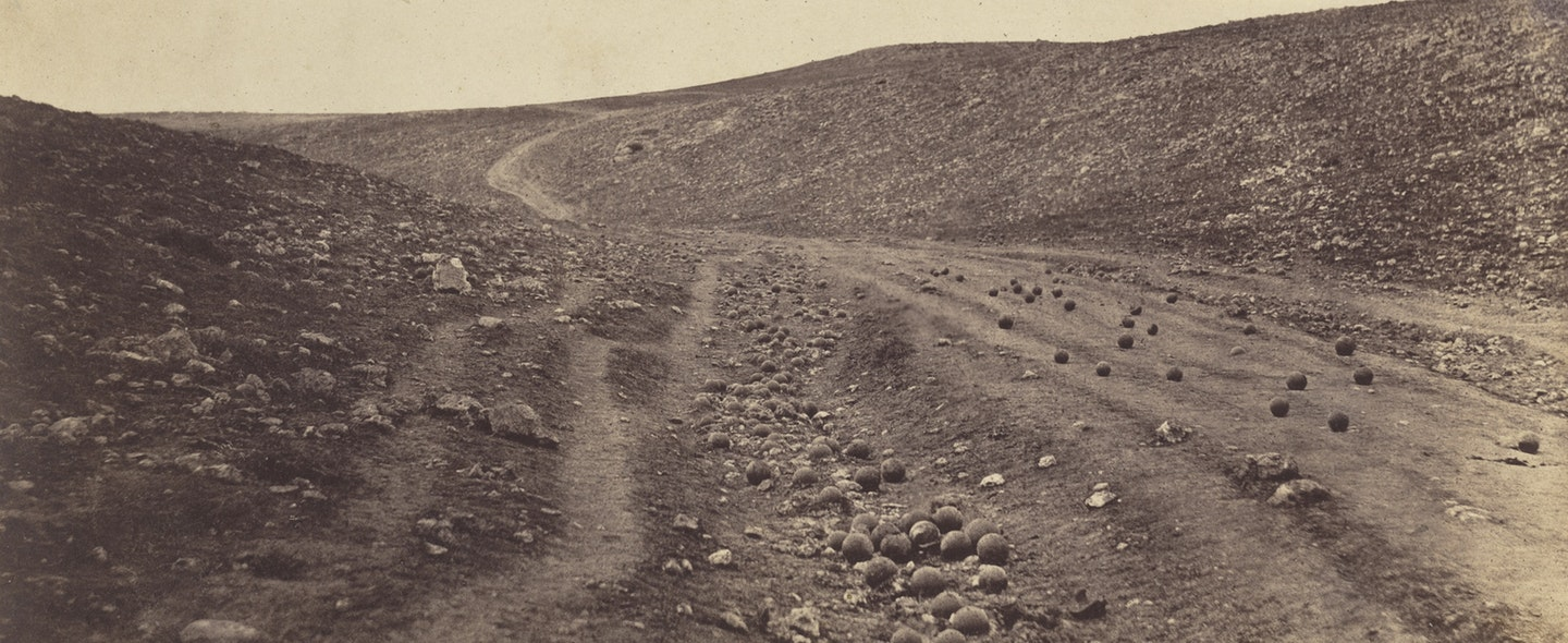 Roger Fenton. The Valley of the Shadow of Death (detail), 1855. Salt print from collodion-on-glass negative. Collection of Michael Mattis and Judy Hochberg