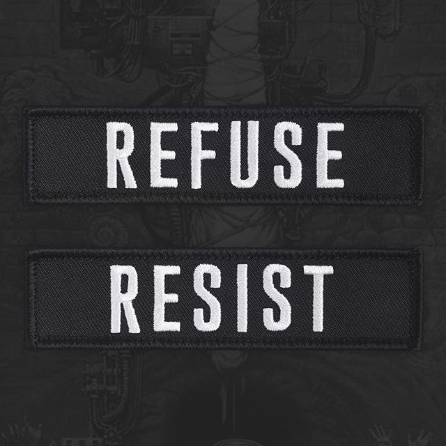 "REFUSE - RESIST 4 x 1"" rocker patches. Unsuck your favourite denim. - www.deathpatches.com.au #deathpatches #refuseresist #sepultura #rooooooooootttsssblooddyyroooootttss"