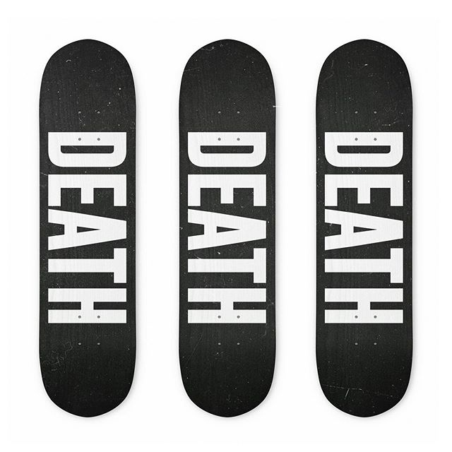 "DEATH DECKS. Your new party-toy for rolled ankles, broken bones and missing teeth. An 8.25"" x 32"" classic deck. Made from 100% Canadian rock maple, eyy buddy. Predrilled to add your own trucks. - www.deathpatches.com.au #deathpatches #skateboard #rolledankles #meatcrayon"