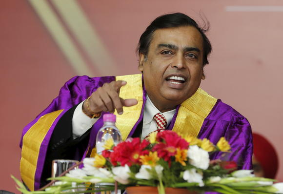 Billionaire Mukesh Ambani, seen here at a convocation ceremony, wants to reinvent all aspects of India's economy with digital technology. © Reuters