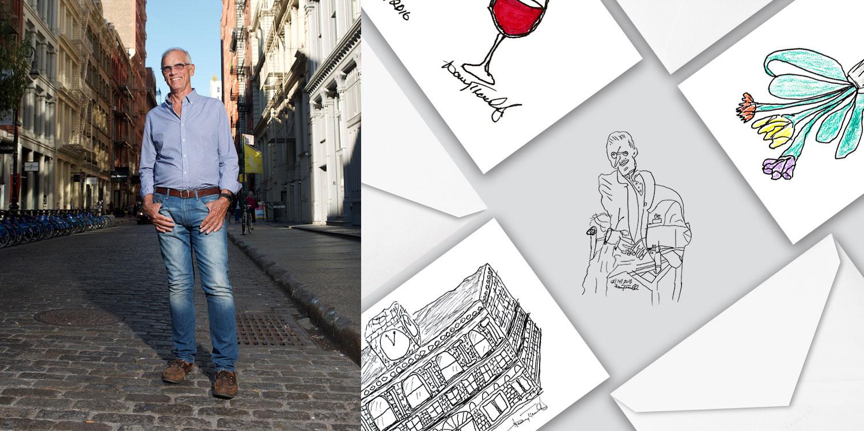 Hand Drawn Greeting Card Artist - Old Man Artist - Harry Traulsen