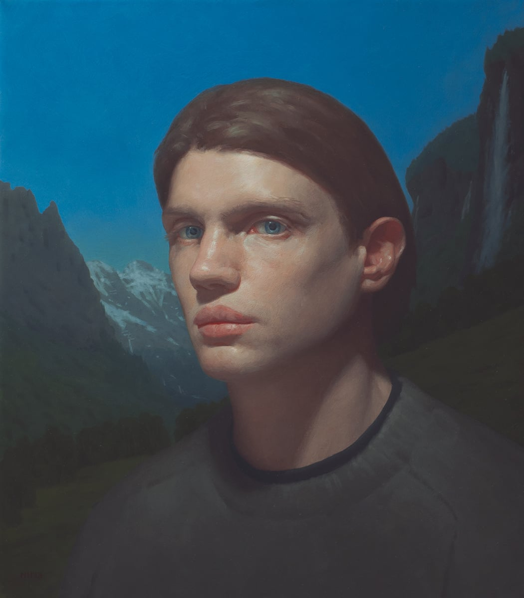 Self Portrait in Switzerland , 2012–13 Oil on linen 16 x 14 inches Signed at lower left: NH '13