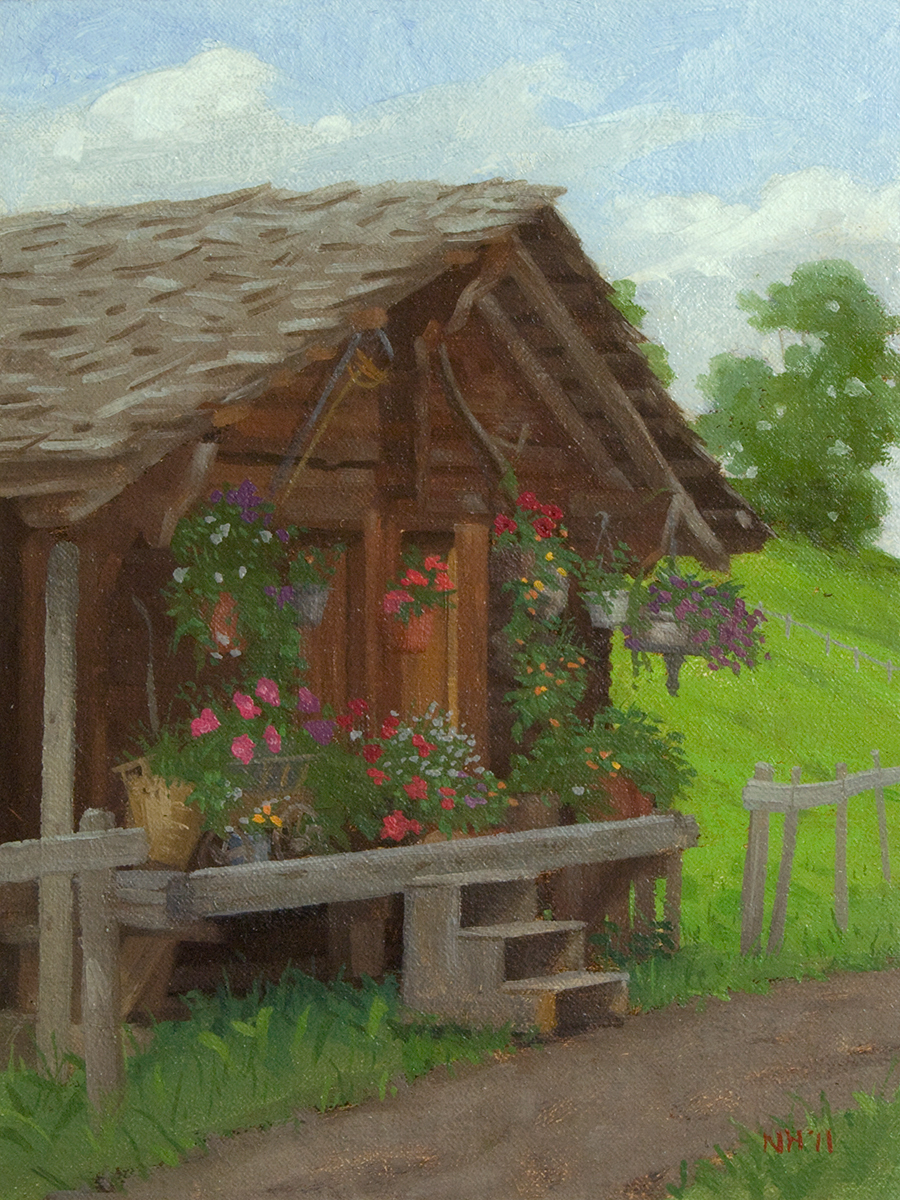 Village Hut , 2011 Oil on canvas 8 x 6 inches Signed at lower right: NH '11