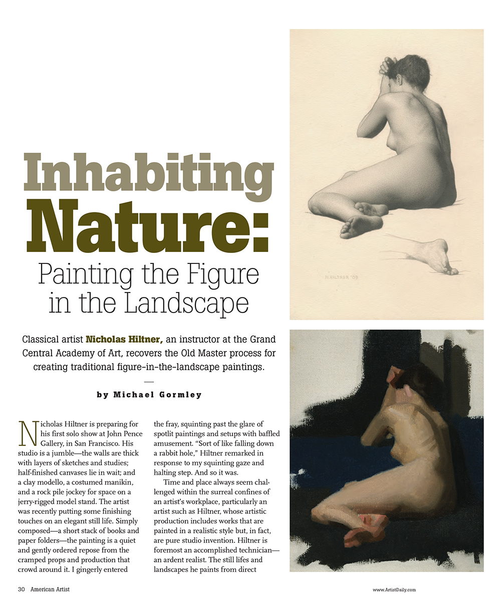 "Gormley, Michael. ""Inhabiting Nature: Painting the Figure in the Landscape.""  American Artist , July/August 2010: 30-37."