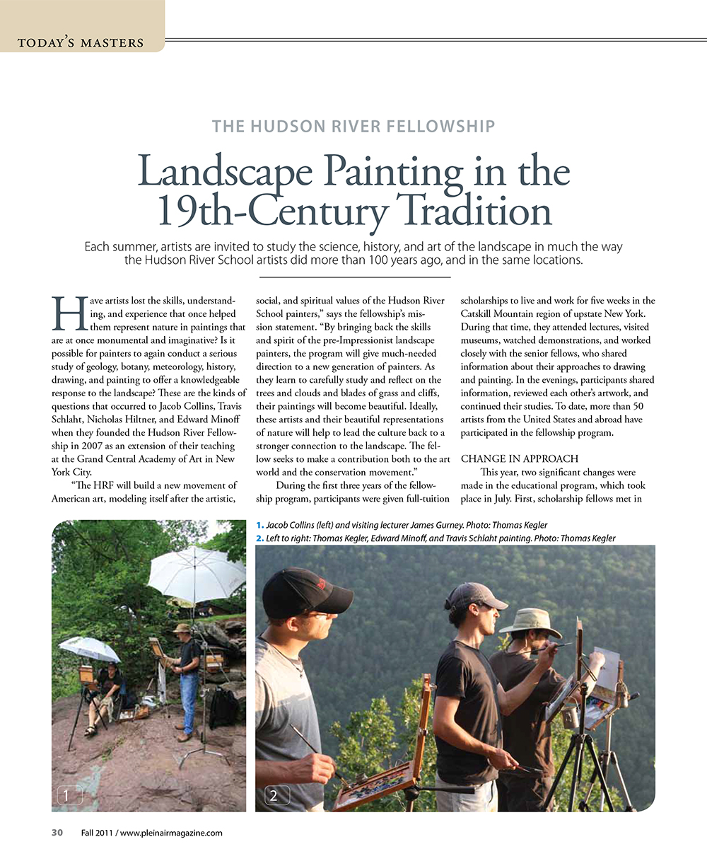 "Doherty, Stephen. ""The Hudson River Fellowship: Landscape Painting in the 19th Century Tradition."" Plein Air Magazine, Fall 2011: 30-36."